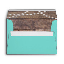Teal Barnwood Lights Personalized Envelope