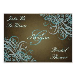 Teal Baroque Swirls Bridal Shower Brown Invitation