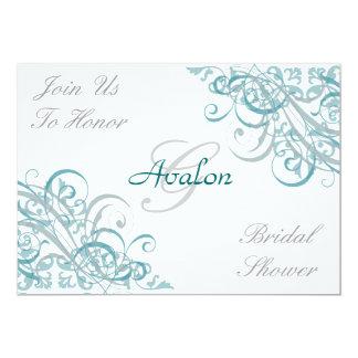 Teal Baroque Swirls Bridal Shower Invitation