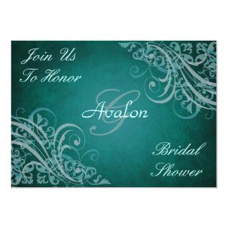 Teal Baroque Swirls Bridal Shower Teal Invitation