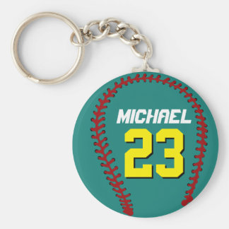 Teal Baseball Keychain for Sports Fans or Athletes