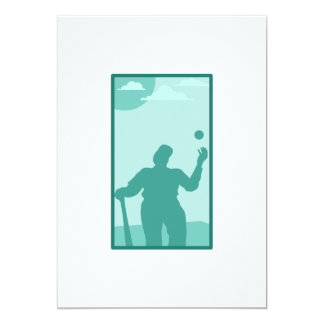 Teal Baseball Logo 5x7 Paper Invitation Card