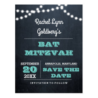 Teal Bat Mitzvah Label Friendly Save the Date Postcard