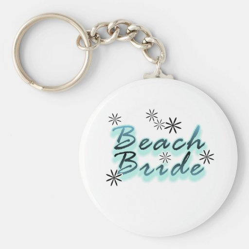 Teal Beach Bride Tshirts and Gifts Basic Round Button Keychain