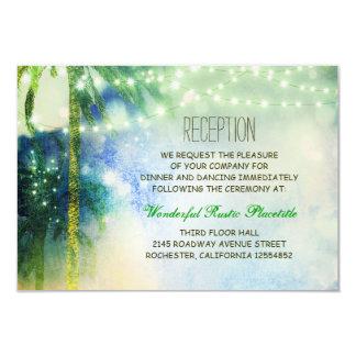 teal beach palms wedding Reception cards