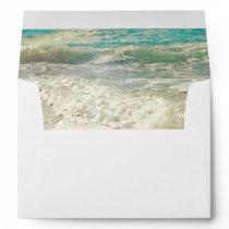 Teal Beach Sea Waves Destination Wedding Envelope