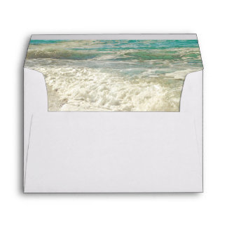 Teal Beach Sea Waves Destination Wedding Envelope