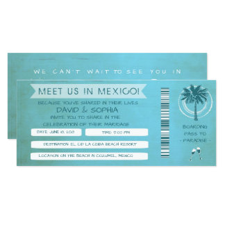 Teal Beach See You in Mexico Wedding Boarding Pass Invitation