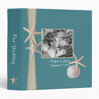 Teal Beach Starfish and Photos 3 Ring Binders