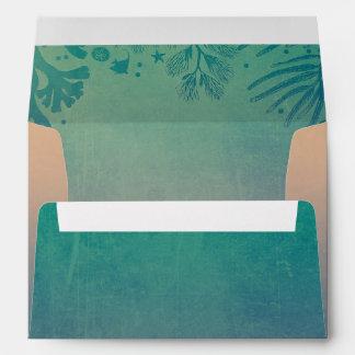 teal beach wedding underwater corals envelope