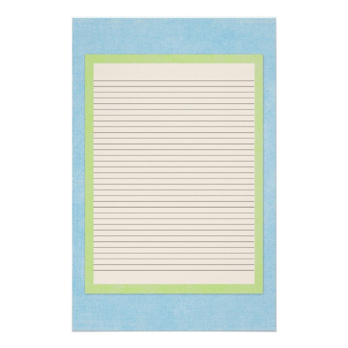 Teal, Beige and Green Stationery - optional lines