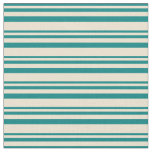 [ Thumbnail: Teal & Beige Pattern of Stripes Fabric ]