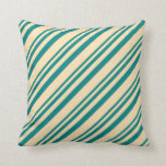 [ Thumbnail: Teal & Beige Pattern of Stripes Throw Pillow ]