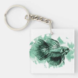 Teal Betta Fish Double Sided Acrylic Keychain