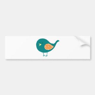 Teal Bird Car Bumper Sticker