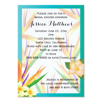Teal Bird of Paradise Bridal Shower Wedding Card