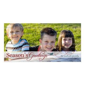 Teal Bird on Swirl Holiday Photo Card