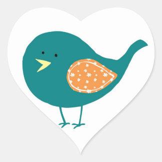Teal Bird Heart Sticker
