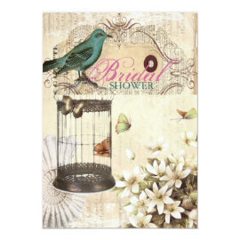 Teal Bird vintage floral botanical bridal shower Card