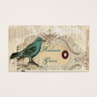 Teal Bird vintage floral botanical wedding Business Card