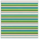 [ Thumbnail: Teal, Bisque, Light Salmon, Dark Green & Green Fabric ]