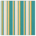[ Thumbnail: Teal, Bisque & Orange Stripes Fabric ]
