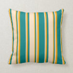 [ Thumbnail: Teal, Bisque & Orange Stripes Throw Pillow ]