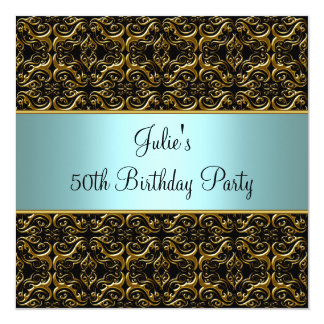 Teal Black 50th Birthday Party Invitation 50th