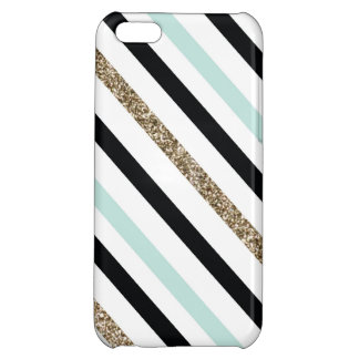 Teal, Black and Glitter Striped Case Case For iPhone 5C