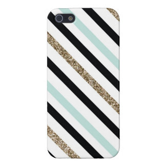 Teal, Black and Glitter Striped Case iPhone 5 Cases
