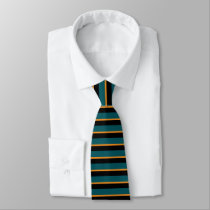Teal Black and Gold Horizontally-Striped Tie