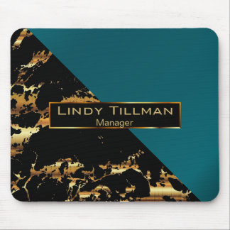 Teal, Black and Gold Marble Mouse Pad
