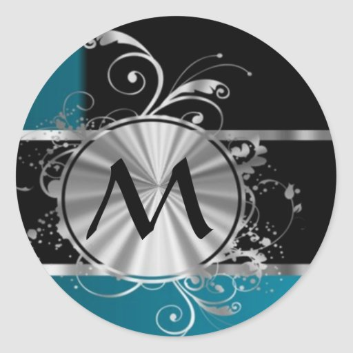 Teal black and silver monogram classic round sticker