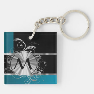 Teal black and silver monogram keychain