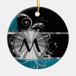 Teal black and silver monogram Double-Sided ceramic round christmas ornament