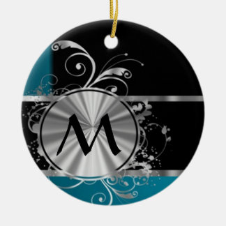 Teal black and silver monogram christmas ornaments