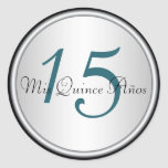 Teal, Black and Silver Quinceanera Envelope Seal Round Sticker