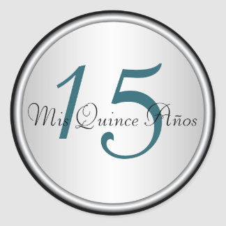 Teal, Black and Silver Quinceanera Envelope Seal Classic Round Sticker