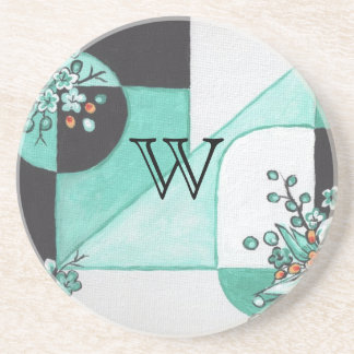 Teal Black and White Coaster