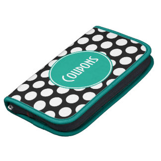 Teal Black and White Polka Dots Coupon Folio Planners