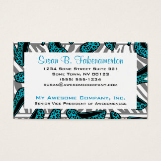 Teal & Black Animal Print High Heel Shoes Business Card