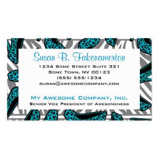 Teal & Black Animal Print High Heel Shoes Business Cards