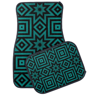 Teal/Black Aztec/Tribal Pattern Floor Mat