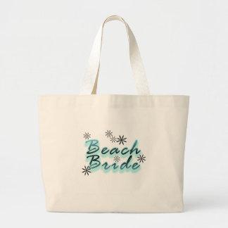 Teal/Black Beach Bride Large Tote Bag