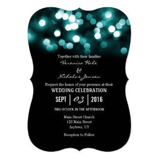 Teal Black Bokeh Glitter Lights Wedding Invites