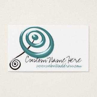 Teal & Black Bullseye and Swirl Business Card