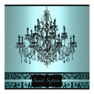 Teal Black Chandelier Sweet 16 Birthday Party Card