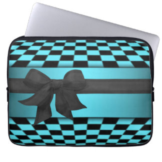 Teal Black Checker Board Bow Pattern Design Computer Sleeve