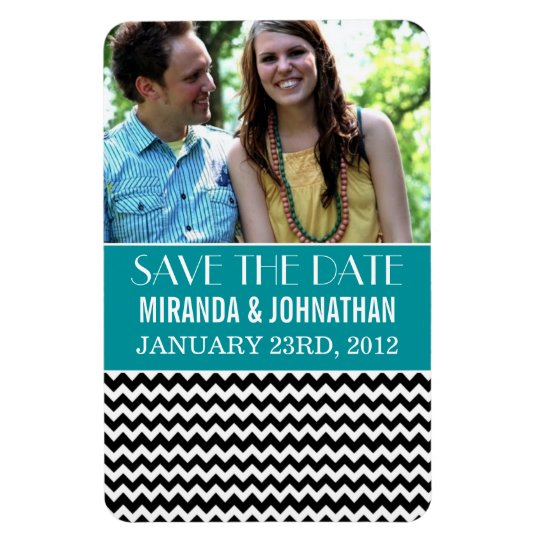 Teal & Black Chevron Photo Save The Date Magnet