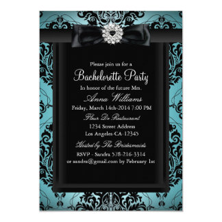 Teal & Black Chic Damask Bachelorette Party Card